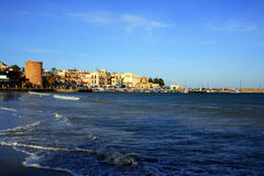 Mondello village seascape. Palermo Italy royalty free stock image