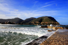 Mondello, Wharf & sea waves  Island of Sicily Royalty Free Stock Image