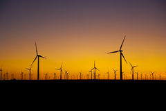 Mondern Wind Turbine Farm at Sunset Royalty Free Stock Images