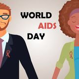 Mondes SIDA jour carte 1er décembre Photographie stock libre de droits