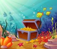Mondi subacquei con i tesori del pirata Immagini Stock Libere da Diritti