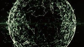 Mondiaal blockchainnet in digitale cyberspace Financiële of sociale achtergrondanimatie voor loopable Cryptocurrency 4K vector illustratie