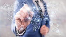 Mondiaal Dubbel de Blootstellingsnet van de Wereldkaart Telecommunicatie, Internationale zaken Internet en technologieconcept stock afbeelding