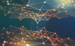 Mondiaal Net Blockchain 3D illustratie Neurale netwerken en kunstmatige intelligentie Concept cyberspace vector illustratie