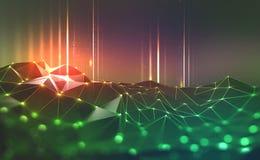 Mondiaal Net Blockchain Neurale netwerken en kunstmatige intelligentie vector illustratie