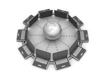 Mondiaal net - computers en bol stock illustratie