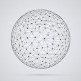 Mondiaal net, gebied Abstracte geometrische sferische vorm met Stock Foto's