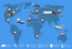 Mondiaal net van commercieel ladingsvervoer vector illustratie