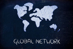 Mondiaal net, zaken in de moderne verbonden wereld stock foto's
