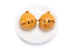 Mondkuchen in der Schweinform stockbilder