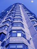 Mondleuchte, neues hohes Gebäude, Ziegelstein, Satelliten Stockfoto