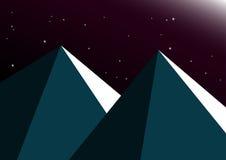 Mondnachtgebirgshintergrund Lizenzfreies Stockfoto