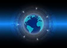 Mondo astratto del fondo di tecnologia nell'era digitale; concetto futuro di tecnologia Fotografie Stock