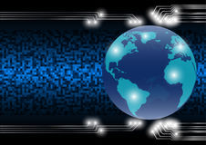Mondo astratto del fondo di tecnologia nell'era digitale; concetto futuro di tecnologia Fotografia Stock
