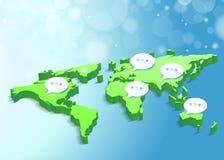Mondo blu del fondo di concetto delle connessioni di rete Fotografie Stock Libere da Diritti