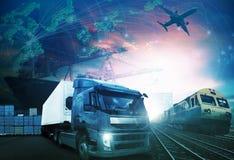 Mondo che vende con industrie camion, treni, nave e merci aviotrasportate franco fotografia stock