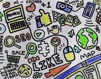 Mondo colorato di arte del disegno di Internet Fotografia Stock