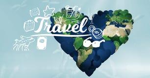 mondo 3d nella forma del cuore con il testo di viaggio in priorità alta Fotografia Stock Libera da Diritti