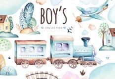 Mondo dei neonati Illustrazione locomotiva dell'acquerello dell'aeroplano e del vagone del fumetto Insieme di compleanno del bamb illustrazione di stock