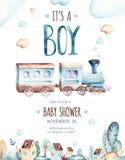 Mondo dei neonati Illustrazione locomotiva dell'acquerello dell'aeroplano e del vagone del fumetto Insieme di compleanno del bamb Immagini Stock Libere da Diritti