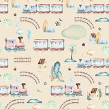 Mondo dei neonati Modello locomotivo dell'illustrazione dell'acquerello dell'aeroplano, dell'aereo e del vagone del fumetto Il ba Immagine Stock Libera da Diritti