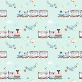 Mondo dei neonati Modello locomotivo dell'illustrazione dell'acquerello dell'aeroplano, dell'aereo e del vagone del fumetto Il ba Immagini Stock Libere da Diritti