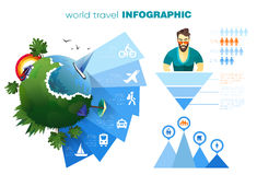 Mondo del concetto di infographics di vacanza e di viaggio con le icone semplici ed il vostro testo Vettore ENV 10, colori materi illustrazione vettoriale