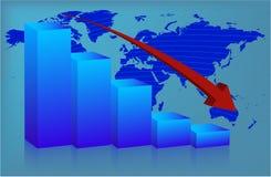 Mondo del diagramma giù Immagini Stock