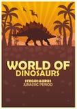 Mondo del manifesto dei dinosauri Mondo preistorico stegosaurus Periodo giurassico royalty illustrazione gratis