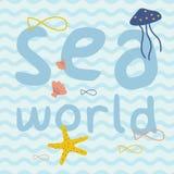 Mondo del mare con il pesce, stella marina, meduse, manifesto della stampa delle coperture illustrazione vettoriale