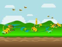 Mondo dell'illustrazione di vettore dell'ape Fotografia Stock