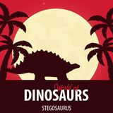 Mondo dell'insegna dei dinosauri Mondo preistorico stegosaurus Periodo giurassico illustrazione di stock
