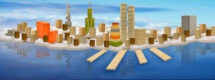 Mondo della città di fantasia Fotografie Stock