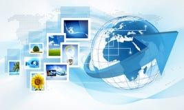 Mondo della compressa del globo Fotografia Stock