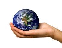 Mondo della holding della mano Immagine Stock