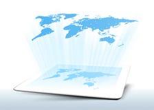 Mondo della mappa della compressa dell'ologramma Immagini Stock Libere da Diritti