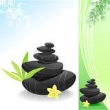 Mondo della stazione termale di zen con le pietre ed i fogli neri del bambù Immagine Stock Libera da Diritti