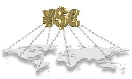 Mondo della tenuta dei soldi illustrazione di stock