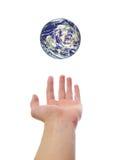 Mondo della terra della holding della mano Fotografie Stock
