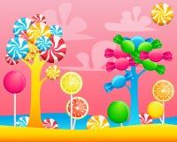Mondo delle caramelle dei dolci illustrazione vettoriale