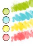 Mondo delle latte della vernice di colore Fotografia Stock Libera da Diritti