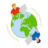 Mondo di chiacchierata intorno con il Internet royalty illustrazione gratis