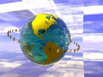Mondo di circolazione del dollaro. illustrazione vettoriale