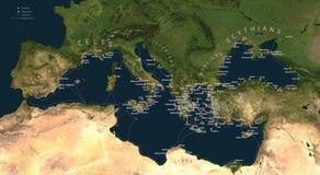 Mondo di colonizzazione del greco antico illustrazione vettoriale