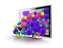 Mondo di colore che salta da 3d TV Fotografia Stock