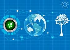 Mondo di risparmi di ecologia di Abstrack su fondo blu Fotografie Stock Libere da Diritti