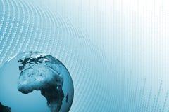 Mondo di tecnologia con il fondo di dati Fotografia Stock Libera da Diritti