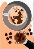 Mondo di vettore del caffè del cappuccino illustrazione vettoriale