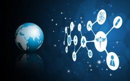 Mondo di vettore del fondo medico di concetto di scienza illustrazione di stock