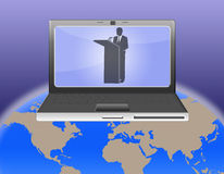 Mondo di videoconferenza Fotografia Stock